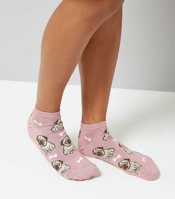 Pink Pug Pattern Trainer Socks
