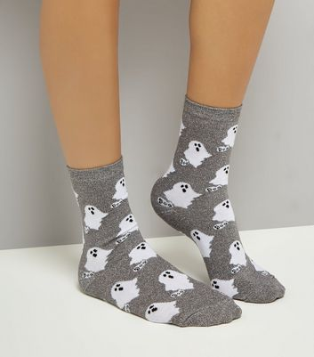 Grey Ghost Pattern Metallic Socks