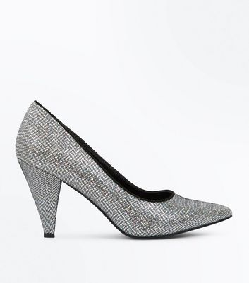Wide Fit Silver Glitter Cone Heel Court Shoes