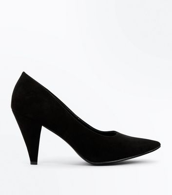 Wide Fit Black Suedette Cone Heel Court Shoes