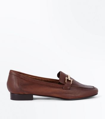 Brown Leather Bar Front Loafers