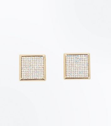 Gold Diamante Embellished Square Stud Earrings