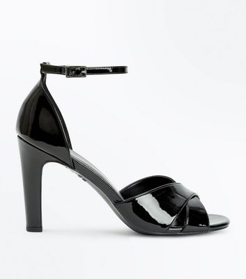 Black Patent Cross Strap Heeled Sandals