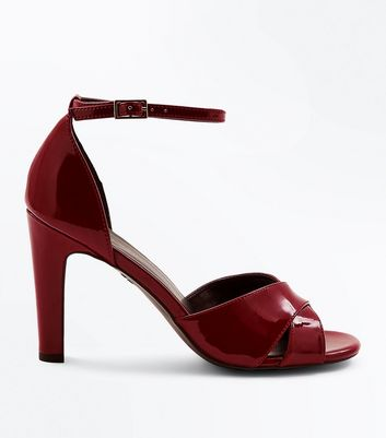 Burgundy Patent Cross Strap Heeled Sandals