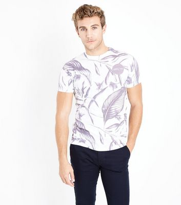 White Tropical Slogan Badge Print T-Shirt