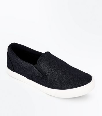 Black Glitter Slip On Trainers
