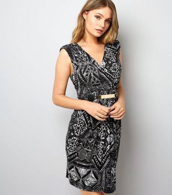 Mela Black Abstract Print Silver Plate Belt Dress