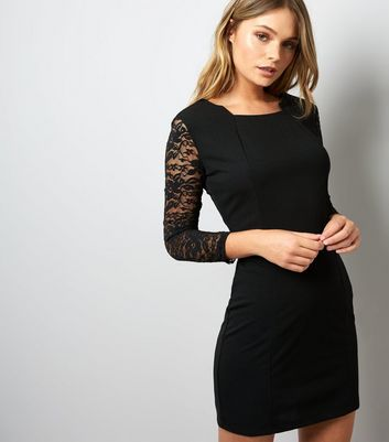 Mela Black Lace Sleeve Bodycon Dress
