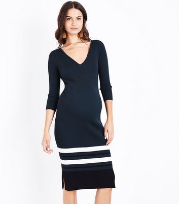 Maternity Dark Green Lattice Back Ribbed Bodycon Dress