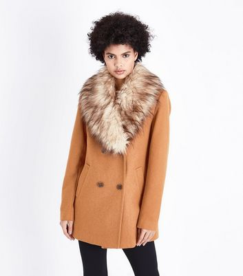 Tall Tan Faux Fur Collar Double Breasted Coat