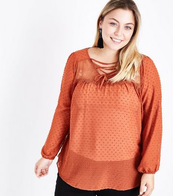 Curves Rust Long Sleeve Lace Up Front Blouse