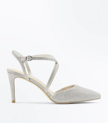 Wide Fit Silver Glitter Strappy Court Heels