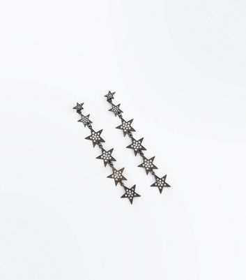Metallic Diamante Star Shoulder Duster Earrings
