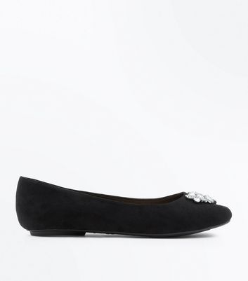 Extra Wide Fit Black Embellished Ballet Pumps
