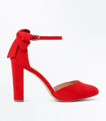 Wide Fit Red Suedette Bow Back Heels