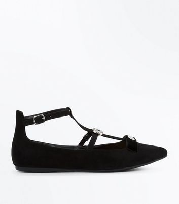 Wide Fit Black Suedette Cross Strap Embellished Pumps