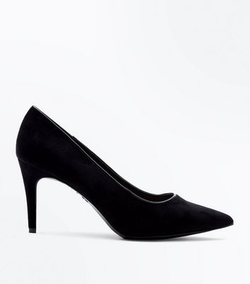 Black Comfort Flex Suedette Pointed Court Heels