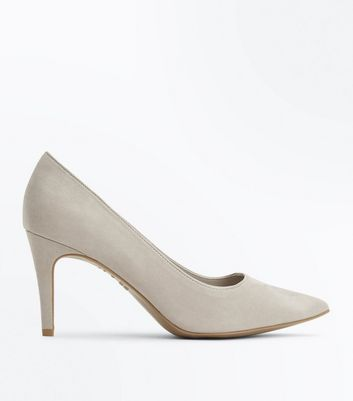 Grey Comfort Flex Suedette Pointed Court Heels