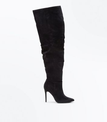 Wide Fit Black Suedette Over The Knee Heeled Boots