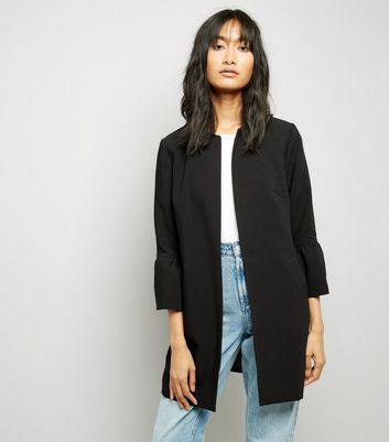 Black Collarless Frill Sleeve Coat