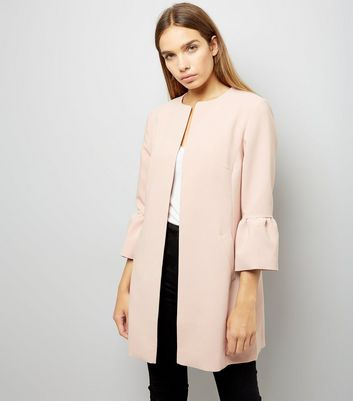 Pink Collarless Frill Sleeve Coat | New Look
