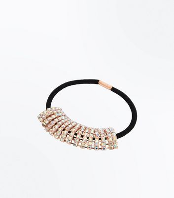 Rose Gold Diamante Embellished Hair Bobble