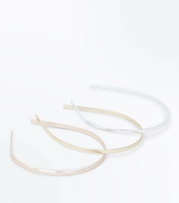 3 Pack Metallic Skinny Hair Bands
