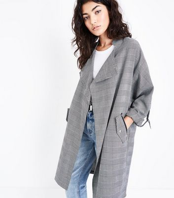 Black Check Waterfall Duster Jacket