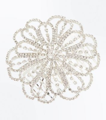 Silver Diamante Embellished Flower Hair Comb