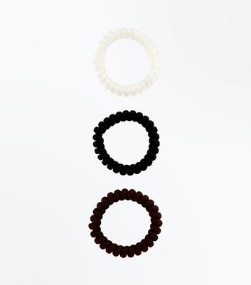 3 Pack Black and White Spiral Hair Bobbles