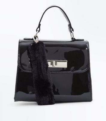 Black Patent Faux Fur Strap Handle Box Bag