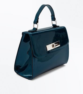 Blue Patent Mini Shoulder Strap Bag