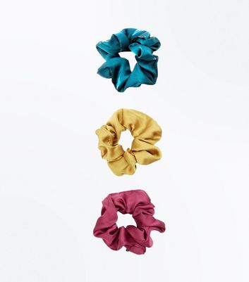 3 Pack Multicoloured Satin Scrunchies