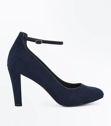 Navy Comfort Flex Piping Trim Ankle Strap Heels