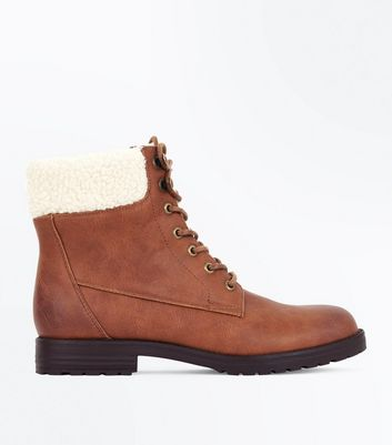 Tan Faux Shearling Trim Lace Up Boots