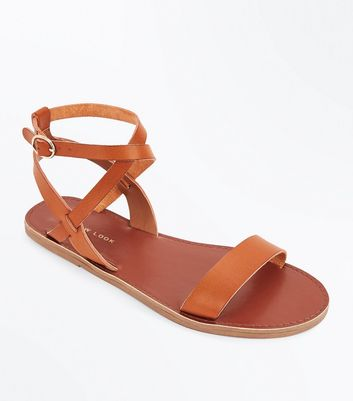 Tan Ankle Cross Strap Sandals