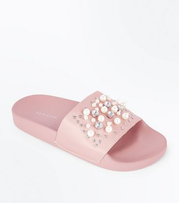 Pink Satin Faux Pearl Embellished Sliders