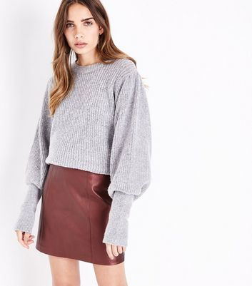 Burgundy Metallic Leather-Look Mini Skirt
