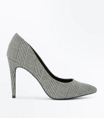 Black Check Pointed Court Shoes
