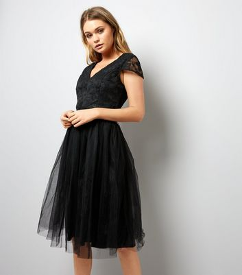 Mela Black Lace and Tulle Skirt Prom Dress