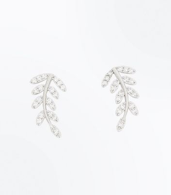 2 Pack Silver Cubic Zirconia Embellished Leaf Earcuffs