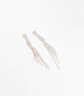 Rose Gold Cubic Zirconia Twist Shoulder Duster Earrings