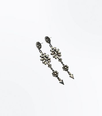Black Diamante Flower Drop Earrings