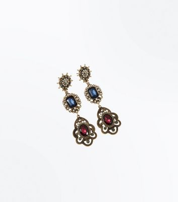 Gold Gem Stone Chandelier Earrings