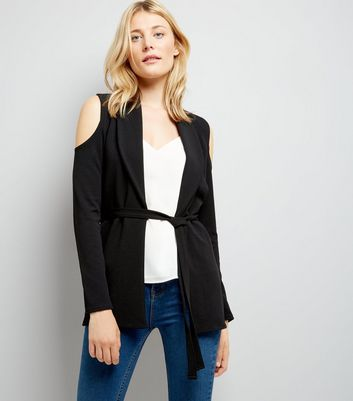 Cameo Rose Black Cold Shoulder Jacket