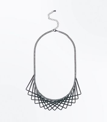 Black Geometric Overlap Necklace