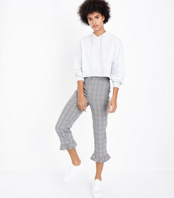 Grey Cropped Frill Hem Check Trousers