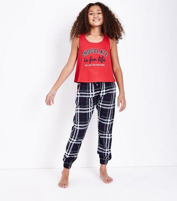 "Teenager – Blaues Pyjama-Set in Flanell-Muster mit ""Chocolate""-Slogan"