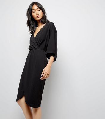 Mela Black Wrap Front Wide Sleeve Dress
