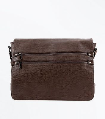 Dark Brown Double Zip Messenger Bag